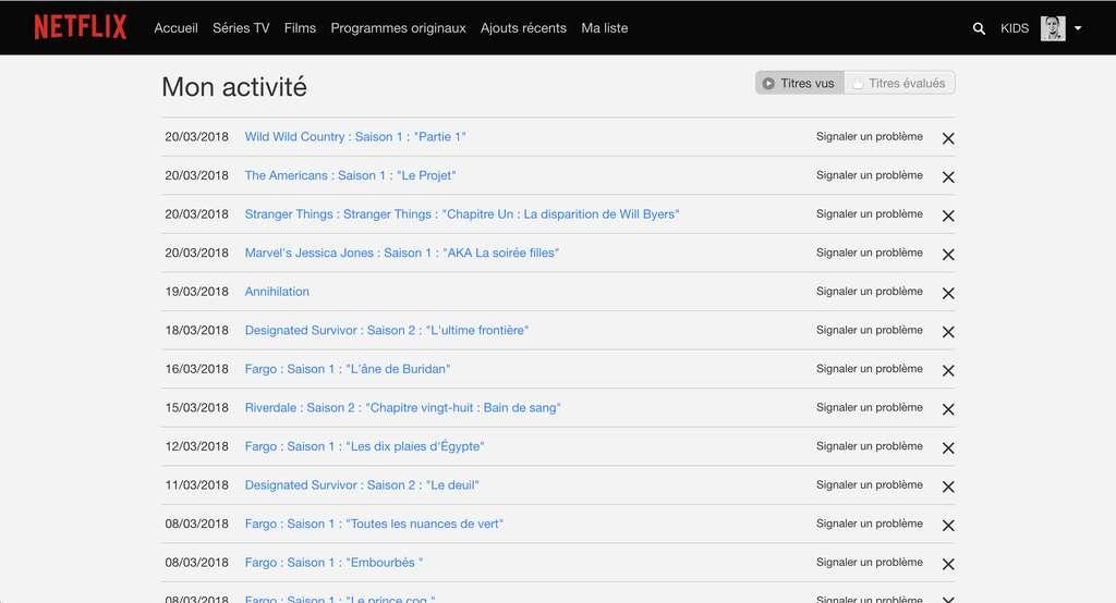 L'historique de l'activité sur Netflix. © Futura