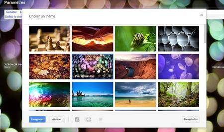 GMail propose de nombreux thèmes. © Google