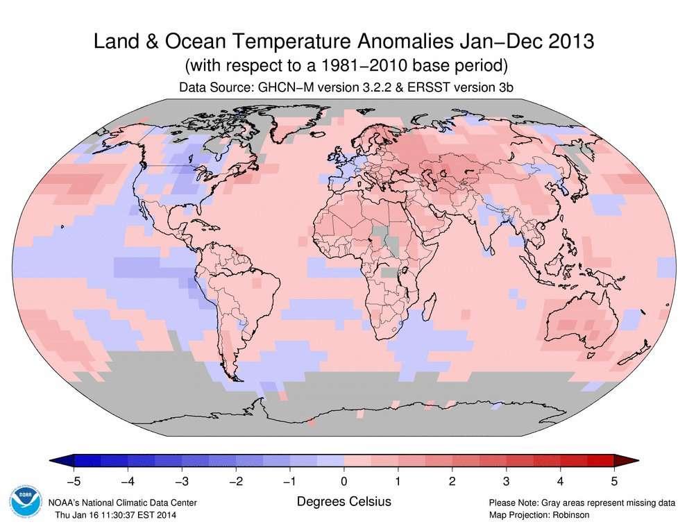 Anomalies des températures de surface en degré Celsius mesurées en 2013 sur Terre (voir échelle colorimétrique), par rapport à une moyenne calculée pour une période couvrant l'ensemble du XXe siècle. En gris, les zones pour lesquelles les données manquent. © Noaa