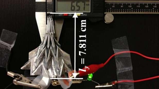 L'année dernière, nous avons consacré un article à une batterie lithium-ion pliable conçue selon le principe de l'origami. Elle peut être étirée, compressée, vrillée, tordue et même enroulée autour d'un doigt sans que la puissance qu'elle développe en soit affectée. © Université d'État de l'Arizona