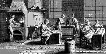 Atelier de batteur d'or XVIIe siècle.