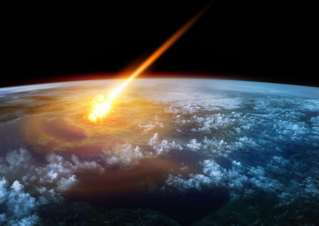 Une météorite géante frappant la Terre embrase l'atmosphère à plus de 1.000 °C et entraîne de gigantesques tsunamis. © James Thew, Fotolia