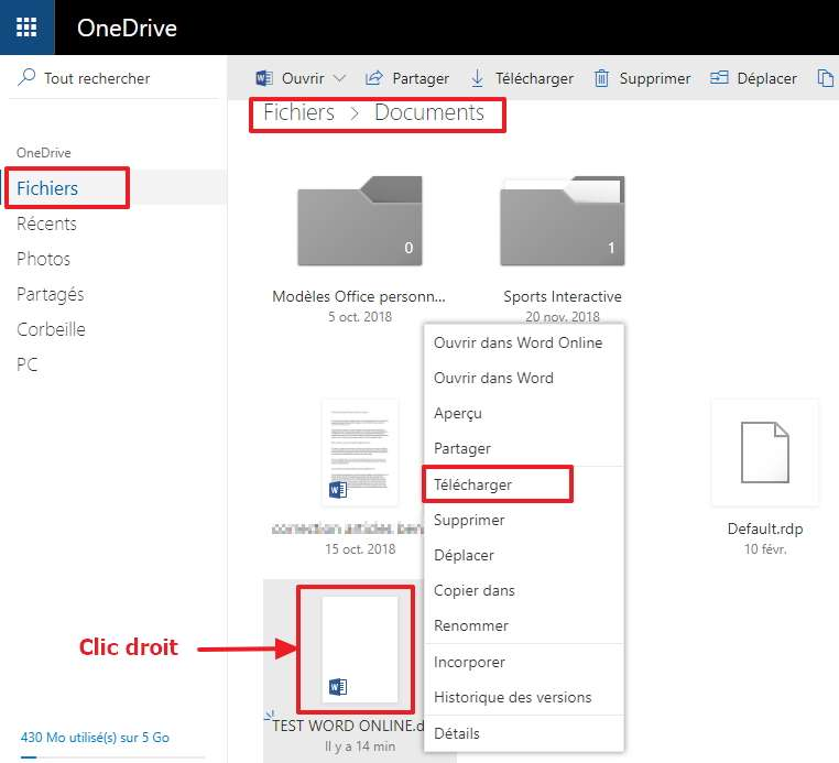 Vous pouvez télécharger un document Word Online directement depuis OneDrive. © Microsoft