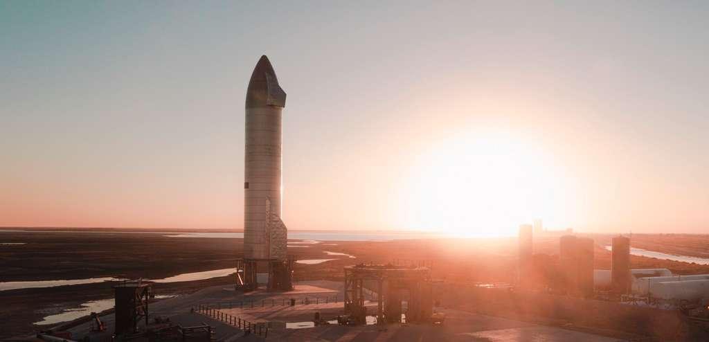 Le prototype SN9 du Starship avant son lancement. © SpaceX