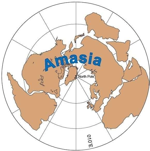 La configuration du prochain supercontinent proposée par les géophysiciens. Ce sera l'Amasie (Amasia en anglais). © Mitchell et al., Nature