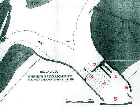 Figure 1 : L'aménagement de la passe du Lido proposé par le projet PERLA. La nouvelle station maritime serait située du côté de la digue nord de la passe.