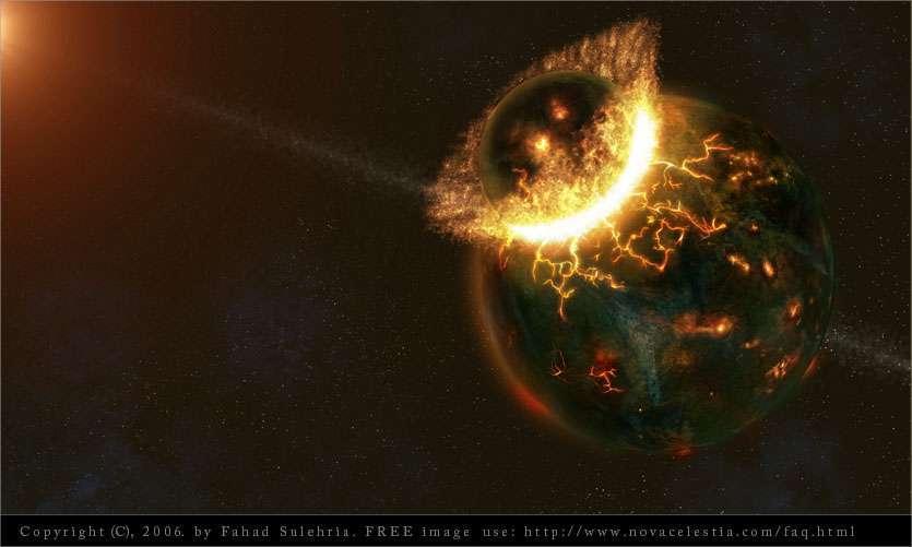 Illustration de la collision de Théia, corps de la taille de Mars, avec la Terre primitive voici 4,4 milliards d'années. © Fahad Sulehria