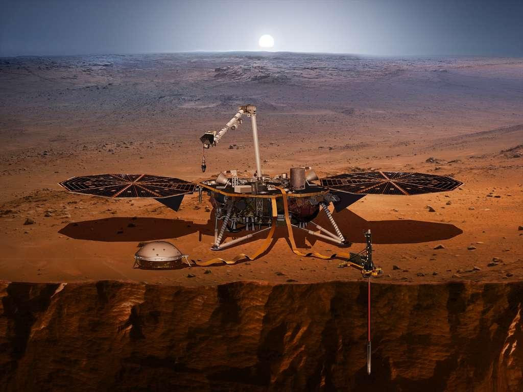 Vue d'artiste de l'atterrisseur InSight. © Nasa, JPL-Caltech