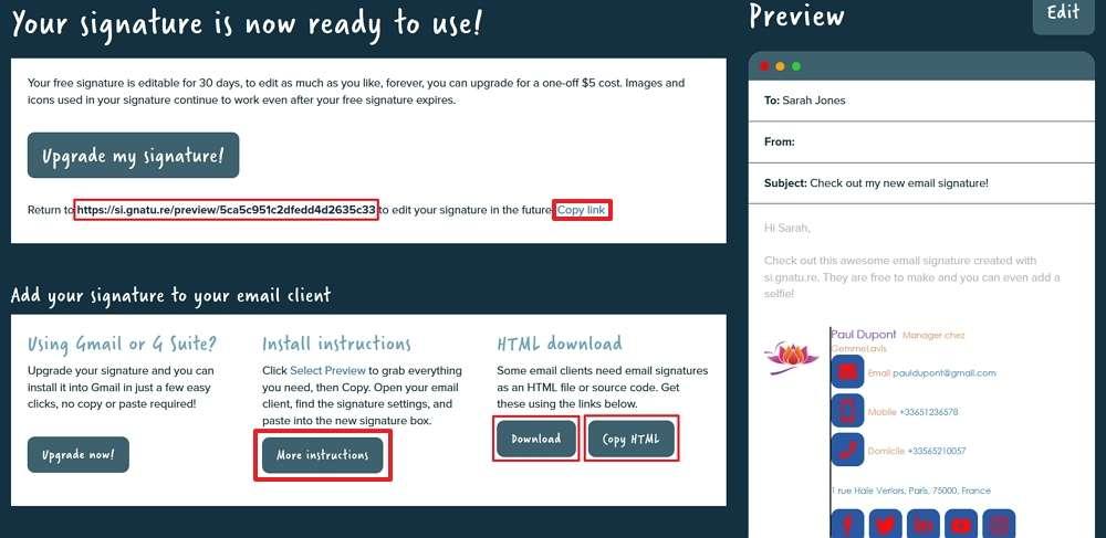 Conservez le lien de la page pour pouvoir éditer votre signature et téléchargez le fichier HTML la contenant. © Si.gnatu.re