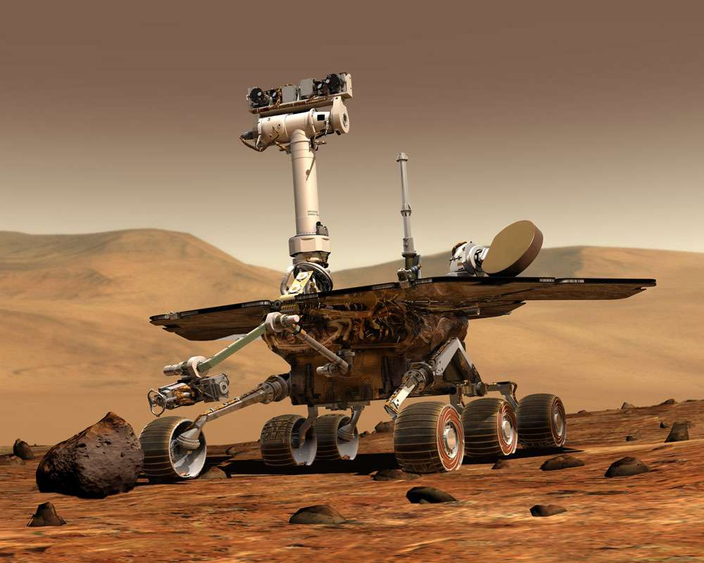 Figure 1. Vue de synthèse du robot Spirit de la Nasa dédié à l'exploration martienne. © Courtesy of Nasa/JPL-Caltech