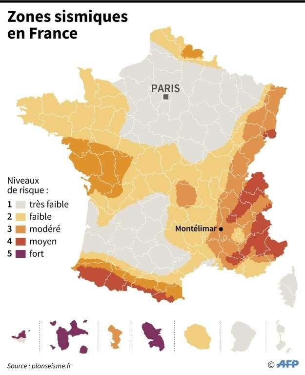 Zones sismiques en France. © Paz Pizarro, AFP
