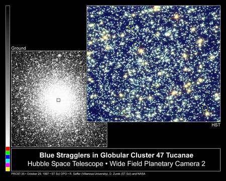 On connaît 21 blue stragglers dans l'amas globulaire 47 Tucanae qui contient plusieurs millions d'étoiles dans un volume sphèrique de 120 années-lumière de diamètre seulement. L'âge de ces étoiles est de 13,5 +/- 2 milliards d'années. © M. Shara (STScI), R.A. Safer (Villanova), M. Livio (STScI), WFPC2, HST, Nasa