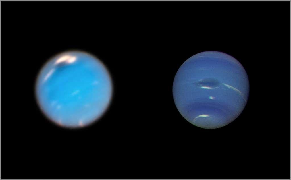 Ici, des images des tempêtes sur Neptune depuis le télescope spatial Hubble (à gauche) et la sonde spatiale Voyager 2 (à droite). L'image de Neptune prise par la caméra Hubble Wide Field 3, prise en septembre et en novembre 2018, montre une nouvelle tempête sombre (en haut au centre). Sur l'image de Voyager, une tempête connue sous le nom de Great Dark Spot (GDS) apparaît au centre. Elle mesure environ 13.000 km sur 6.600 km. © Nasa, ESA, GSFC, JPL