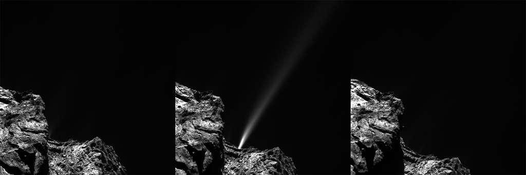 Un jet de matière (10 mètres par seconde) surpris par la sonde Rosetta le 29 juillet 2015. © ESA/Rosetta/MPS for OSIRIS Team