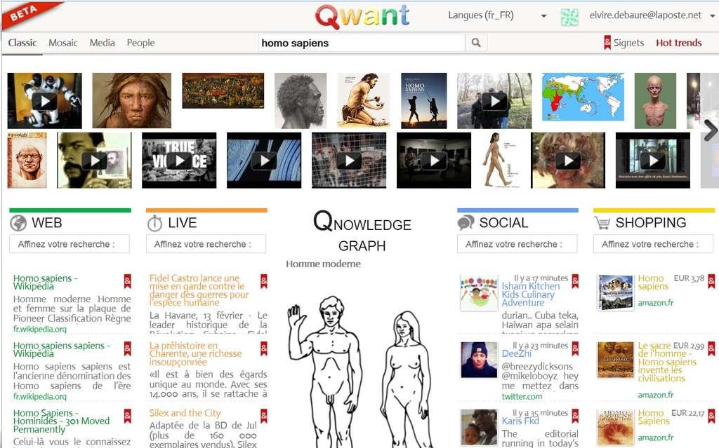 En présentation « Classic », Qwant affiche une page présentée en colonnes, avec une catégorie pour les articles récents (« Live »), une autre pour un assez mystérieux « Qnowledge Graph » et une rubrique « Shopping », à la destinée plus claire. On remarque aussi « Social », pour fouiller dans les messages des uns et des autres. © Qwant
