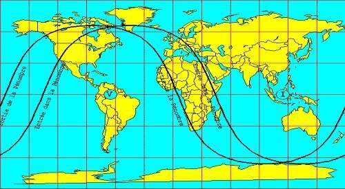 Zone de visibilité de l'éclipse pénombrale de Lune du 5 juillet 2020.