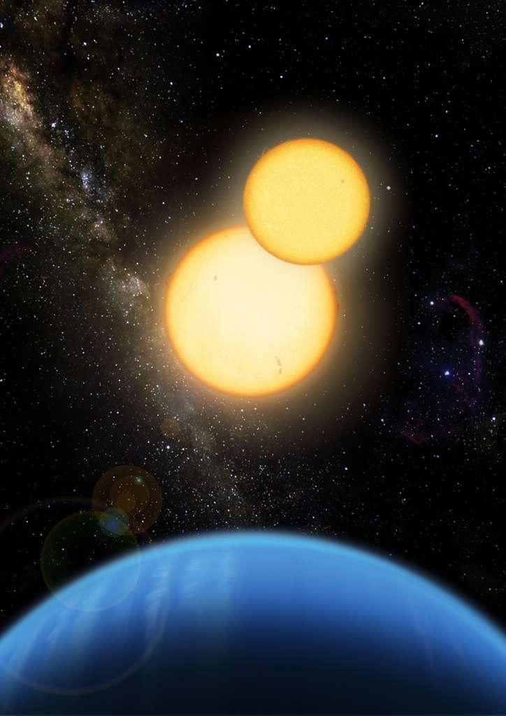 Une vue d'artiste de Kepler 35b en orbite autour de ses soleils. © Lior Taylor