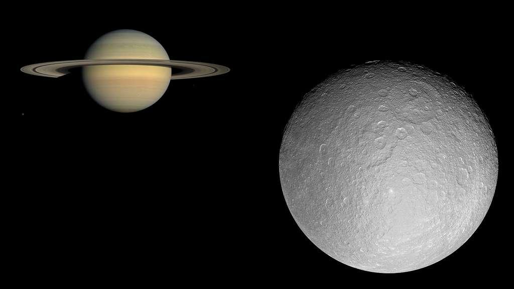 Saturne et sa lune Rhéa