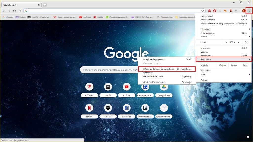 Faites apparaître le menu pour pouvoir effacer les données de navigation. © Google