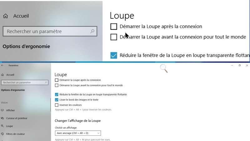 Le mode ancré permet de voir le même élément à la fois à sa taille normale en bas de l'écran et agrandi en haut de l'écran. © Microsoft