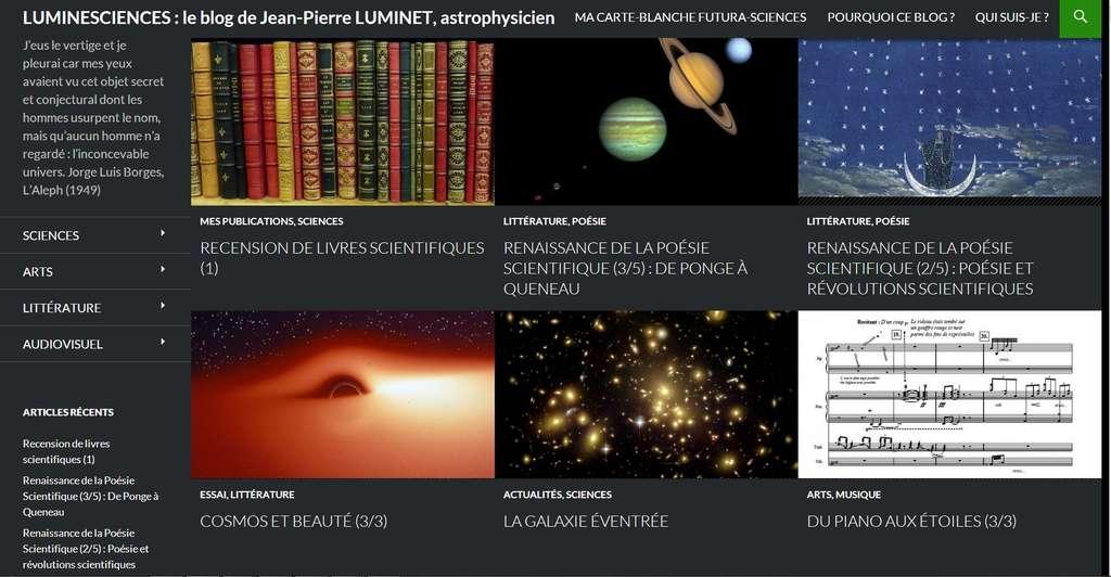 Des livres, le cosmos, la poésie, la musique... : ce sont les forces d'attraction qui font résonner, et raisonner, Jean-Pierre Luminet. Comme en témoigne son blog, ouvert par Futura-Sciences.