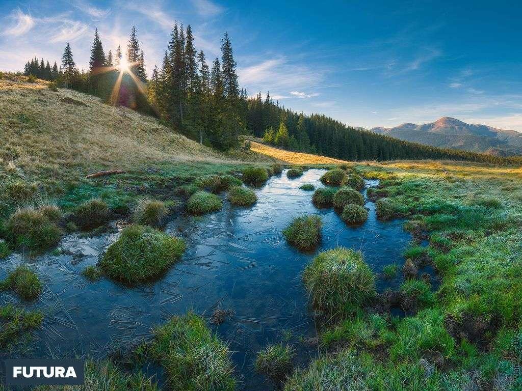 Ukraine, paysage de la réserve de biosphère des Carpates