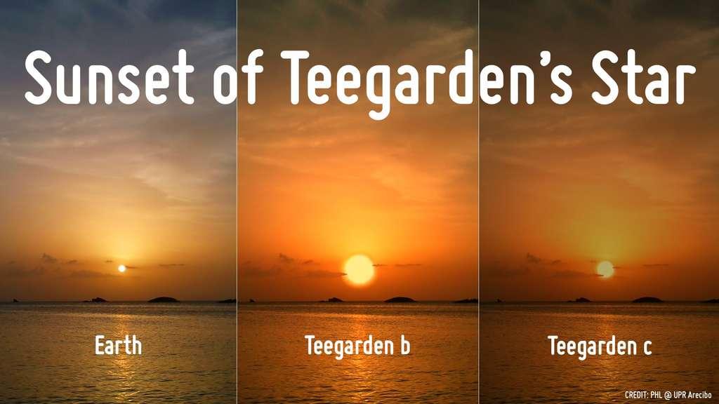 Au centre et à droite, le coucher de la naine rouge Teegarden si nous étions à la surface de Teegarden b et de Teegarden c. © A. Mendez (PHL)