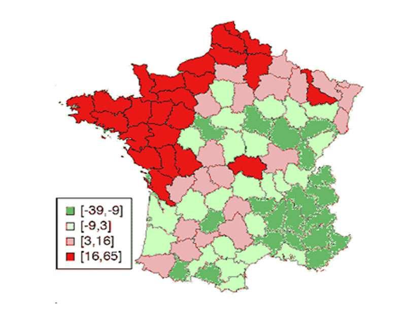 Émissions nettes totales, cumul 1993-2003, en tonnes de CO2 équivalent par hectare. © Persée