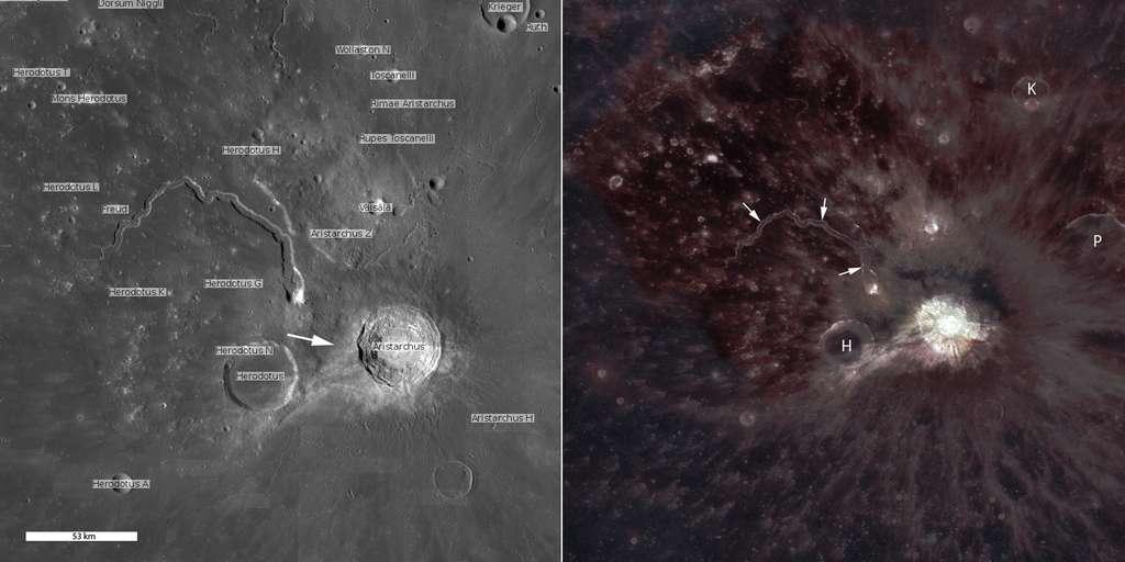 Photographié en infrarouge (à droite) par la caméra grand-angle de la sonde LRO, le plateau d'Aristarque révèle comment les éjectas produits lors de la formation du cratère sont venus se superposer aux coulées de lave (plus rouges au nord-est du cratère). © Nasa, GSFC, Arizona State University