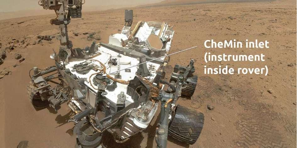 Le rover Curiosity et son instrument de pointage à rayon-X, CheMin. © Nasa