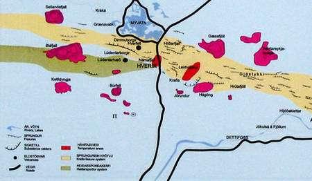 Carte schématique de la région de Myvatn. © DR