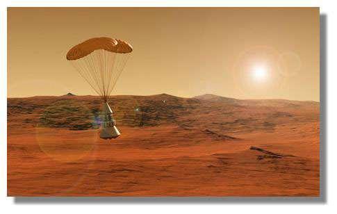 L'atmosphère de Mars, une ressource précieuse dont on va tirer profit pour : la mise en orbite, le freinage pour la descente, la descente finale (sous parachute) et la fabrication du propergol de remontée ! Crédits : NASA
