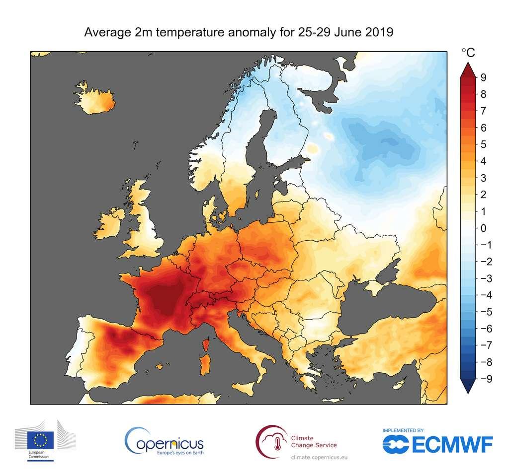Le mois de juin 2019 a été extrêmement chaud en Europe tout particulièrement. © ECMWF, Copernicus Climate Change Service