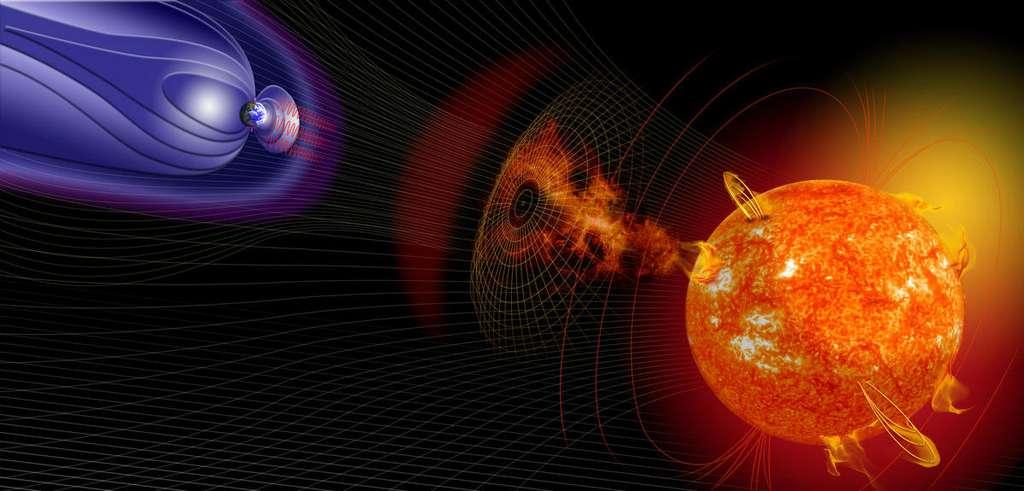 Cette vue d'artiste montre les échanges entre le Soleil et la Terre. Une éruption solaire peut venir perturber le champ magnétique terrestre. © CNRS