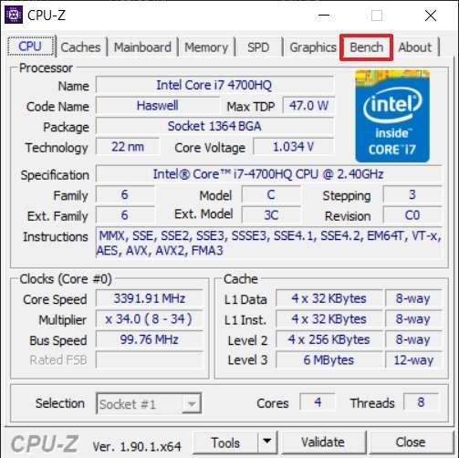 Le logiciel CPU-Z est basé sur une interface par onglets. Le premier offre des informations techniques sur le CPU. © CPUID
