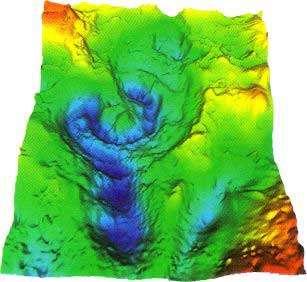 Reconstitution du cratère de Chicxulub, sur les côtes du Yucatán (Mexique). Il se serait formé à la suite de la chute d'une comète de longue période. Il s'agit d'une cartographie gravimétrique. © LPI, USGS