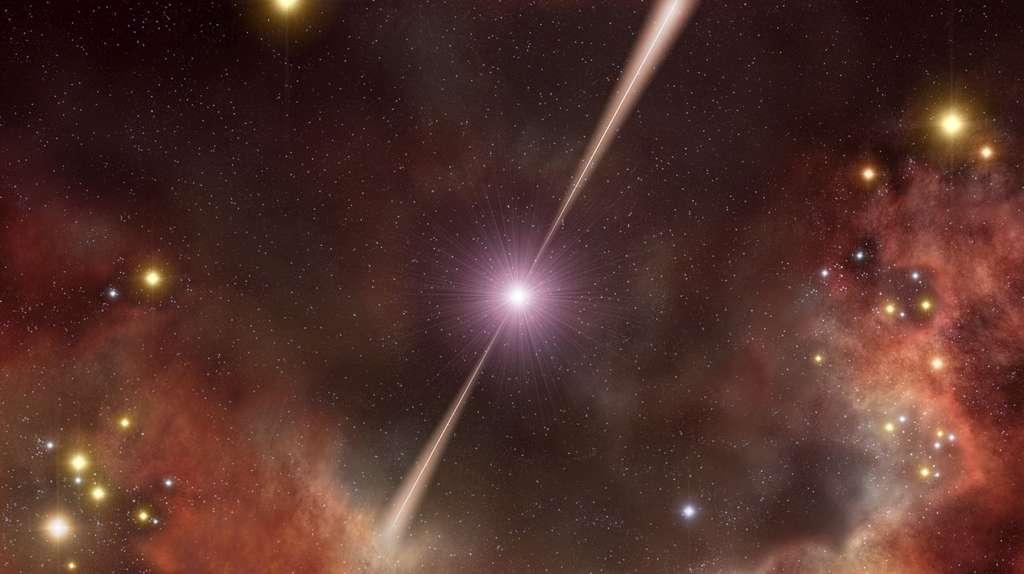 Une vue d'artiste du sursaut gamma GRB 080319B détecté par le satellite Swift, le 19 mars 2008. L'explosion était visible à l'œil nu et correspondait à un sursaut gamma long survenu, il y a environ 7,5 milliards d'années. © Eso