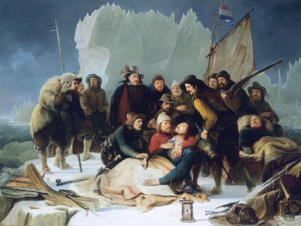 Tableau décrivant la mort de Willem Barents le 20 juin 1597 en Nouvelle-Zemble, par Christiaan Portman en 1836. National Maritime Museum, Greenwich, Londres. © Wikimedia Commons, domaine public