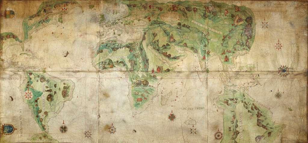 Mappemonde de l'École de cartographie de Dieppe, avec mention de la «Grande Jave» (Australie) et de la «Terra Australis» sous le détroit de Magellan. © The British Library Board, domaine public.