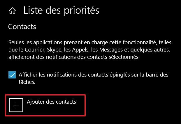 Cliquez sur « Ajouter des contacts ». © Microsoft