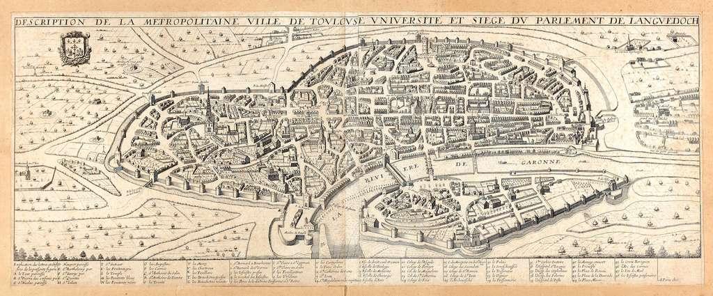 Plan Boisseau de 1645 : Description de la Métropolitaine ville de Toulouse, université et siège du parlement du Languedoc. © Archives municipales de Toulouse, domaine public