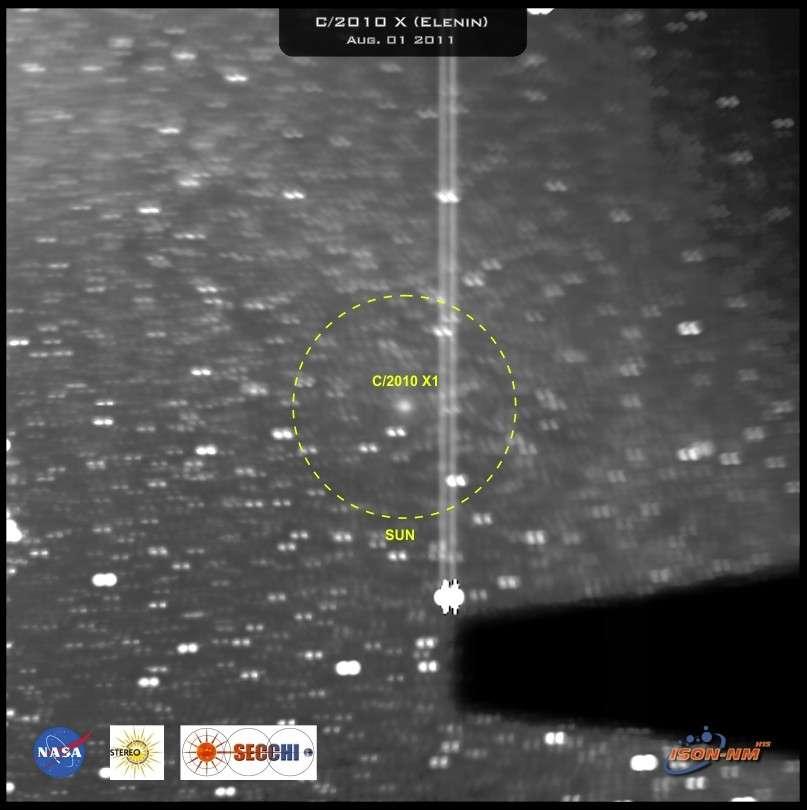 La modeste comète Elenin (photographiée ici par la sonde Stereo-B le 31 juillet 2011) n'aura inquiété que les prophètes de malheur et les crédules qui lisent leurs prédictions. Elle s'est désintégrée fin août 2011, victime d'une éruption solaire. © GFSC/Nasa/L. Elenin