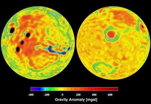Mars : carte de la gravité. Crédits : Nasa