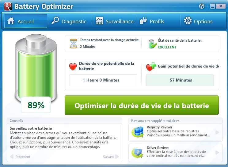 Battery Optimizer est la solution idéale pour gérer l'utilisation de sa batterie. © ReviverSoft