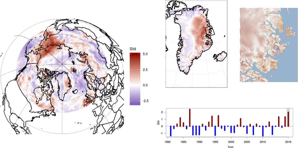 La station de Zackenberg, au nord du Groënland, a enregistré ses plus fortes précipitations neigeuses des 20 dernières années à l'hiver 2018. © Schmidt NM et al, Plos Biology, 2019.