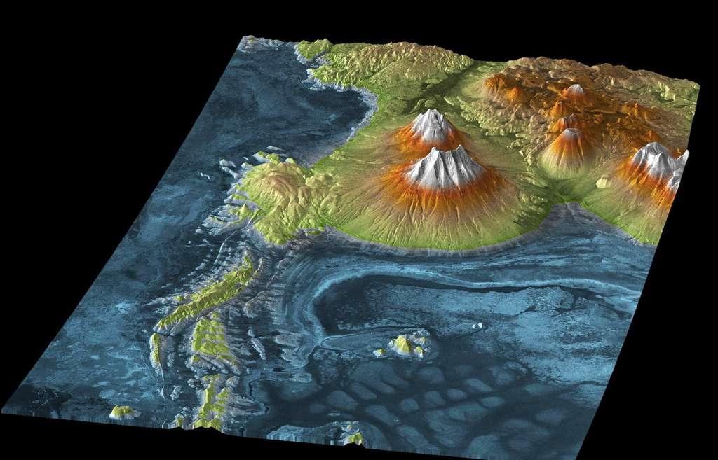 Ce MME montre le volcan Tunupa et les bords du Salar de Uyuni, un désert de sel de plus de 10.000 kilomètres carrés, en Bolivie. © DLR