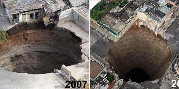 Deux cavités brutalement apparues à Guatemala City. A gauche, celui de février 2007, profond d'une centaine de mètres. A droite, celui de ce mardi premier juin. © DR