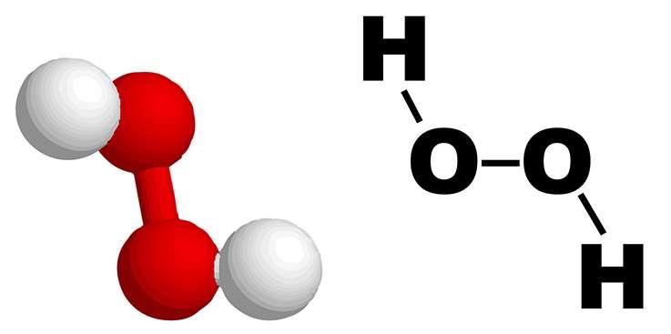 Le peroxyde d'hydrogène se décompose facilement en eau et oxygène. © Wikipédia