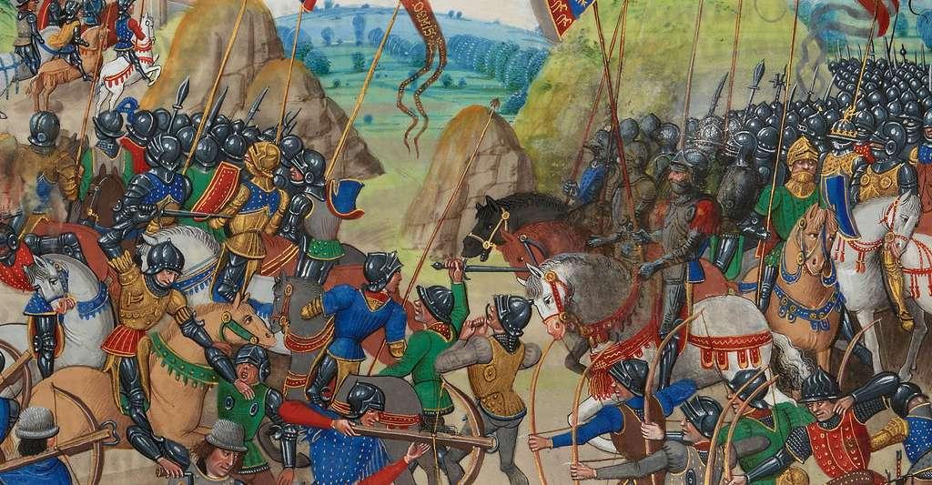 1337 marque le début de la guerre de Cent Ans. Ici, la bataille de Crécy, en 1346. © Jean Froissart, Wikimedia Commons, DP