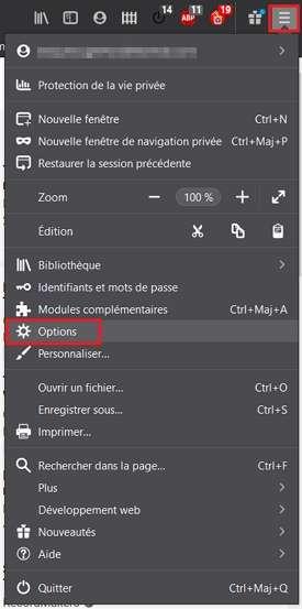 Allez dans les options de Firefox. © Mozilla Foundation